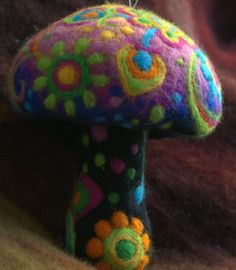 Hippie needle felted summer flower mushroom by Petradi on Etsy....my oldest daughter 'loves' mushrooms, gonna have to do this one for sure