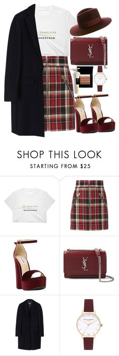 """Untitled #1925"" by mihai-theodora ❤ liked on Polyvore featuring rag & bone, Steve Madden, Yves Saint Laurent, MSGM, Bobbi Brown Cosmetics, Olivia Burton and Maison Michel"