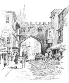 """Salisbury Walk"" Graphite drawing done in Salisbury England. The cathedral spire can be seen rising above the archway in the old wall. Graphite Art, Graphite Drawings, City Drawing, Drawing Sketches, Sketching, John Constable Paintings, Salisbury England, Old Wall, Rise Above"