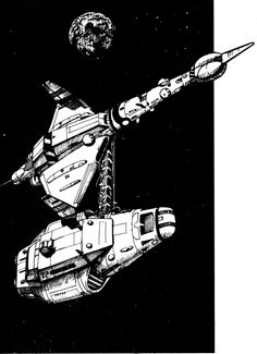 This is one of the last images I did for MegaTraveller, back in my pen and ink days. This one comes from the GDW adventure Knightfall. Two of my favorit. Spaceship Art, Spaceship Design, Star Wars Episode Iv, Sci Fi Ships, Tecno, Sci Fi Art, Online Art Gallery, Science Fiction, Concept Art