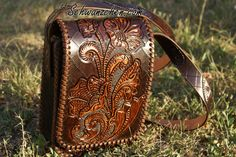 Custom tooled leather bag sheridan  Luxurious Vintage Handcrafted