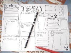 gothic journal printable daily planner goth di LaSoffittaDiSte