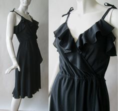 c77739ed 1970's flirty ruffled black wrap dress with by afterglowvintage, $44.00 Day  To Night Dresses,