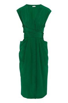 This dress is perfection. -L Wish List: Vionnet's Emerald Silk Wrap-Dress - The Cut Retro Mode, Mode Vintage, Pretty Dresses, Dresses For Work, Dress Skirt, Wrap Dress, Look Fashion, Fashion Design, Fashion Fashion