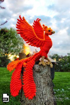 Phoenix Firebird Crochet Amigurumi Pattern DIGITAL PDF | Etsy Crochet Dragon Pattern, Crochet Patterns Amigurumi, Amigurumi Doll, Crochet Dolls, Knit Crochet, Crochet Birds, Crochet Animals, Peluche Harry Potter, Harry Potter Crochet
