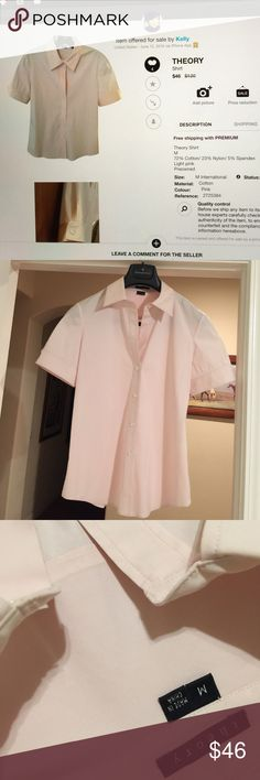 Theory Shirt M, 72% Cotton/23% Nylon/5% Spandex, stretchy, light pink, worn in good condition Theory Tops Button Down Shirts