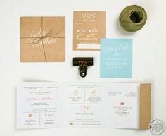 Faire part mariage sur mesure multiples cartes fond kraft couleurs lin mint et peche