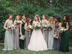 Choosing the right green bridesmaid dresses makes your wedding day look wow. The green bridesmaid dr Grey Bridesmaids, Mismatched Bridesmaid Dresses, Bridesmaid Dress Colors, Wedding Bridesmaid Dresses, Autumn Bridesmaids, Forest Green Bridesmaid Dresses, Bridesmaid Shirts, Green Wedding, Spring Wedding