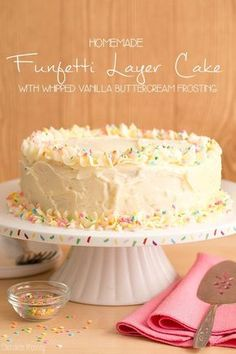 Let's have some fun and celebrate with this homemade Funfetti Layer Cake with Whipped Vanilla Buttercream Frosting. Guaranteed to put a smile on your face!