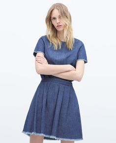 Image 3 of DENIM SKIRT WITH FRAYED HEM from Zara