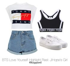 """""""BTS Love Yourself Highlight Reel: JiHope's Girl"""" by kapparel ❤ liked on Polyvore featuring Tommy Hilfiger, Boohoo, Vans and Fendi"""