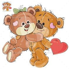 Buy Loving Brown Teddy Bear Hides Valentine Heart by vectorpocket on GraphicRiver. Vector illustration of a loving brown teddy bear hides behind his back a valentine, and his girlfriend hugs him by th. Teddy Bear Hug, Brown Teddy Bear, Teddy Bear Toys, Tatty Teddy, Cute Teddy Bears, Cartoon Clip, Bear Cartoon, Clipart, Adobe Illustrator