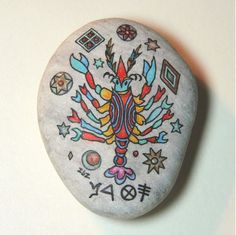 CANCER ZODIAC SIGN  MINIATURE ART PAINTING ON STONE