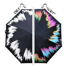 Smart fabric: The patterns on the umbrella are made of hydrochromic ink which changes colour when rain falls.  The black and white umbrella becomes colourful the moment it rains. Hydrochromic ink is a kind of water based ink, which can change colour from white colour to transparent when it gets wet,and would return back to original colour when it gets dry,hydrochromic ink can be applied through screen printing
