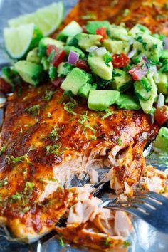 Chipotle Lime Salmon with Avocado Salsa
