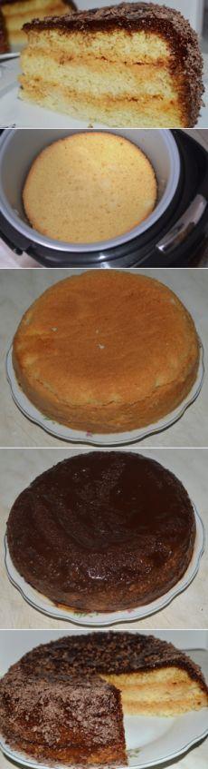 Нежный  бисквитный торт со сгущенкой в мультиварке   Вкусный день