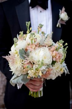 Pink, peach and White wedding flower bouquet, bridal bouquet, wedding flowers, add pic source on comment and we will update it. www.myfloweraffair.com can create this beautiful wedding flower look.