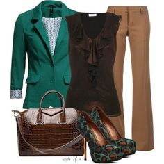 Green and Brown Outfit. Mmm, mmm, mmm! Love the color combination a lot. Perfect stylish work to evening outfit.