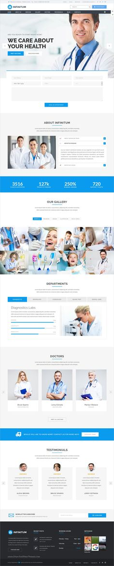 Infinitum is clean and modern design responsive multipurpose #WordPress theme for #medical and #healthcare centers website with 18+ niche homepage layouts to live preview & download click on Visit