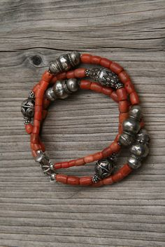 Bracelet: Old coral and old silver beads.