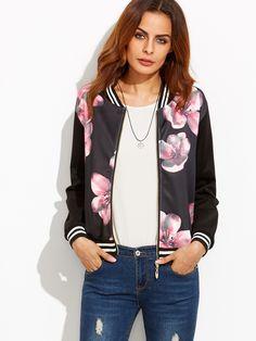 Black Striped Floral Print Bomber Jacket — 0.00 € ---------------color: Black size: one-size