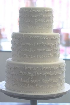 """Wedding cake with vows written in icing. You could put a beautiful embellishment on the top, but I believe the vows """"say it all"""". Pretty Cakes, Beautiful Cakes, Amazing Cakes, Simply Beautiful, Fondant Cakes, Cupcake Cakes, Cake Pops, Cake Candy, Cake Trends"""