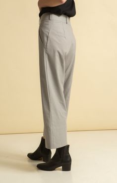 Wide leg, cropped trousers with pockets on the sides. Made from 100 % recycled materials in Loksa, Estonia. Wrap Jumpsuit, Cropped Trousers, Sustainable Fashion, Legs, Grey, Collection, Gray