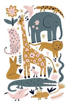 About ★ This is safari wildlife set, different animals bundle, African cute inhabitants collection, nursery illustrations. Good for branding, room interior Safari Animals, Baby Animals, Spring Animals, Forest Animals, Steampunk Animals, African Animals, Kids Prints, Illustrations Posters, Animal Illustrations
