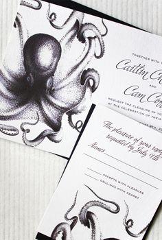 Si Wrap your loving tentacles around Concertina Press' oceanic wedding invitations te gusto esto te va a encantar http://besomordelon.com/