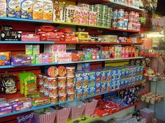 Candy Candy Candy! The wall of sweets at Culture Vulture Leeds. One day this may collapse in a terrible American candy-style avalanche.