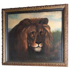 Oil on Canvas of Lion, Signed and Dated   From a unique collection of antique and modern paintings at http://www.1stdibs.com/furniture/wall-decorations/paintings/