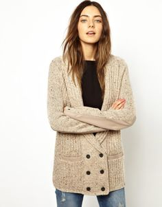 Asos Esprit Chunky Boyfriend Cardigan with Leather Look Sleeve Detail in Beige (Oatmeal) - Lyst