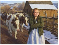 Robert Ducan Follow Me 2010.     I love this. I love the brown cows, the lighting, and the girl's sweater tucked unevenly under her arm. It is perfection.