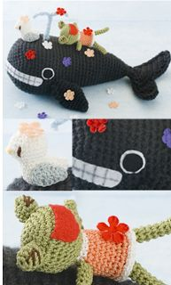 Frog, seagull and Whale ~Free Pattern PDF ( click the blue letters to download)here: http://crochetpedia.blogspot.com.es/search/label/Crochet%20Amigurumi