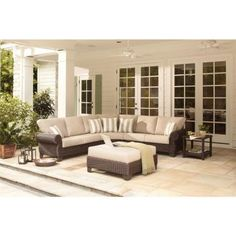 Garden Furniture East Bay hampton bay spring haven brown all-weather wicker patio swivel
