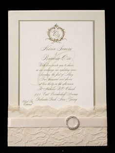 """Somewhere in Time"" Wedding Invitation by Arlene Segal Designs ( its very pretty if I was doing lace )"