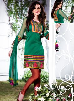 Teal Green And Maroonish Red Churidar Suit