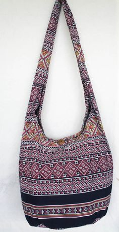e3c72a379e8 YAAMSTORE thai northern art graphic navy blue hobo bag sling shoulder  crossbody hippie boho purse