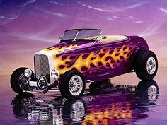 1930's Hot Rot Street Rod Purple Flaming Roadster Art Mouse Pad mousepad Computer Desktop Supplies #Street #Purple #Flaming #Roadster #Mouse #mousepad #Computer #Desktop #Supplies