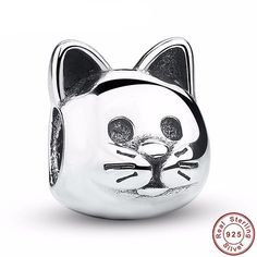 Cat Charm fits Brand Bracelets & European and Necklaces - Authentic Sterling Silver - Cat Bead Charm Pendant - Cat Dangle - Kitty Charm Bead Argent Sterling, Sterling Silver, Pandora Bracelet Charms, Charm Bracelets, Pandora Beads, Silver Cat, Bijoux Diy, Silver Charms, Silver Beads