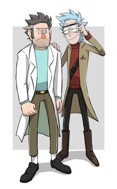 Rick actually doesn't look bad in Stanford's clothes.
