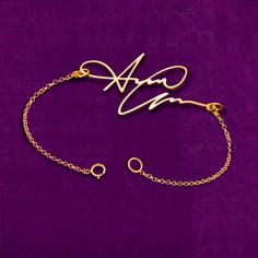 Gold Signature Bracelet Your Handwriting by JoelleJewelryDesign, $33.99