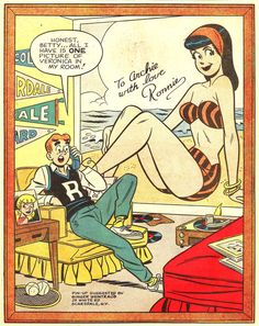 s ignore the anticipated, mediocre joke in this one for a second to acknowledge that Archie isn t wearing those horrid orange pants and rather green (jeans Slacks ) I WANT THOSE PANTS. Archie Comics Characters, Archie Comic Books, Comic Books Art, Comic Art, Bd Comics, Comics Girls, Archie Betty And Veronica, Archie Comics Riverdale, Vintage Pop Art