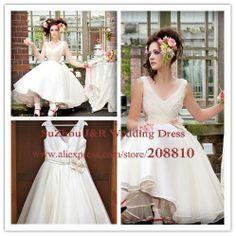 Vintage Floral V Neck Short Organza Destination Wedding Dress V Back Knee Length Tulle Reception Dress Free Shipping-in Wedding Dresses from...