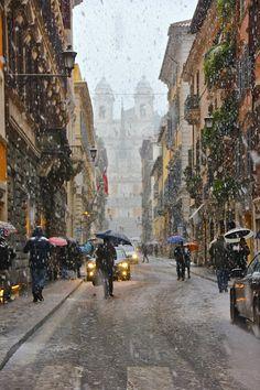 Snow in Rome, near Spanish stepsby KpowkaYumi.