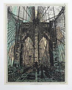 Brooklyn Bridge ~ Linocut (3 color), Rives BFK, 16 x 20 inch ~ Eric Rewitzer (3 Fish Studios)