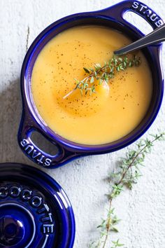 Roasted Garlic Butternut Squash Soup - a delicious fall recipe with roasted garlic as the king ingredient! Nutrient dense, easy to make, healthy and clean!