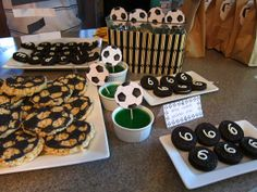 Soccer Birthday Party Dessert Table Oreos love the number on the cookies Soccer Birthday Parties, New Birthday Cake, Birthday Party Desserts, Dad Birthday Card, Birthday Party Tables, Sports Birthday, Birthday Cakes For Men, Birthday Gifts For Teens, Soccer Party