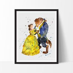 Beauty and the Beast Belle Princess Watercolor Art. This art illustration is a composition of digital watercolor images and silhouettes in a minimalist style.