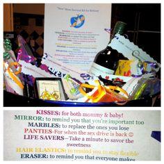 """Made this """"New Mom Survival Bucket"""" for a baby shower present! All kinds of fun stuff to throw in there...everything from rubber bands to remind you to stay flexible to a bottle of wine when all else fails :)"""